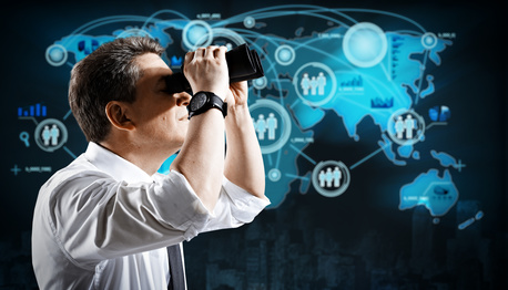 Man with binoculars Spying to business competitors.